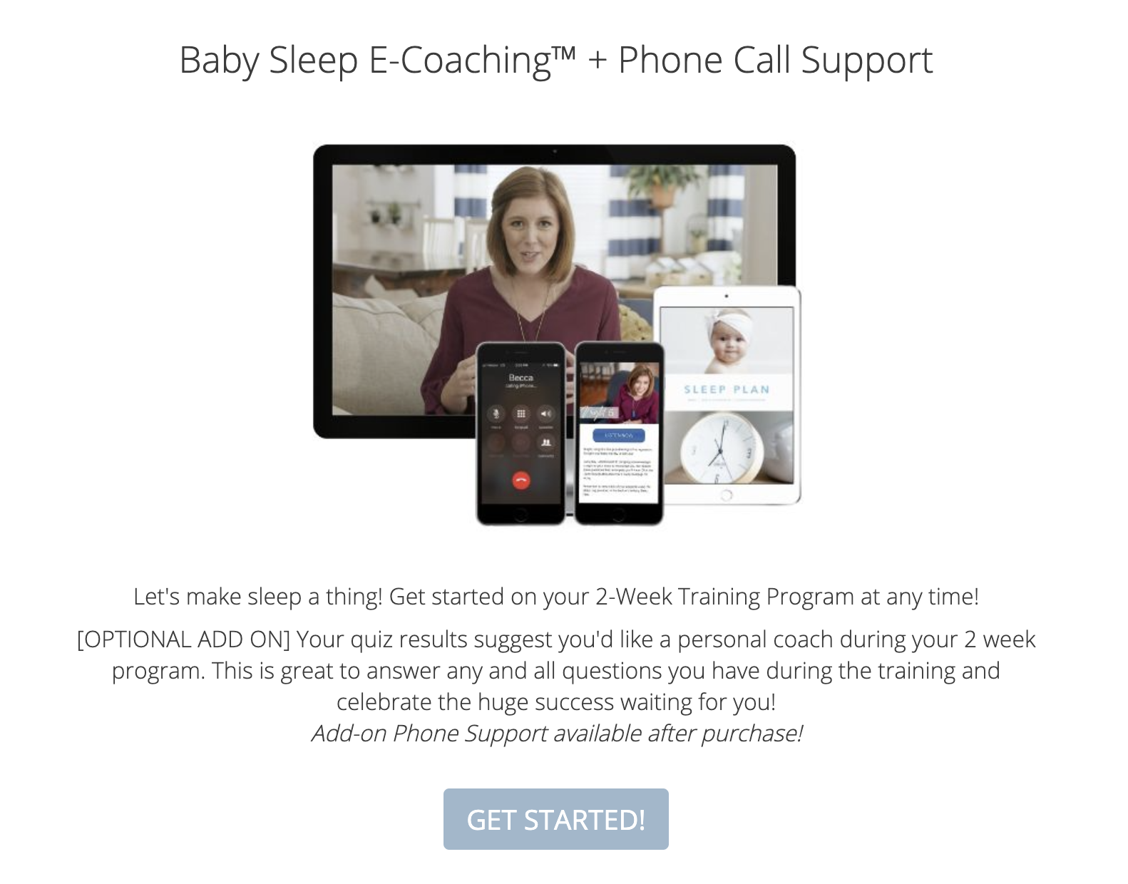 Sales page for Baby Sleep E-Coaching and Phone Call Support