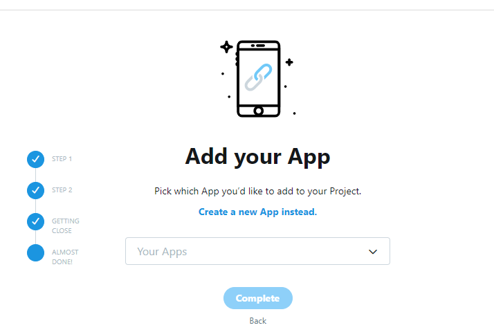 twitter api add app