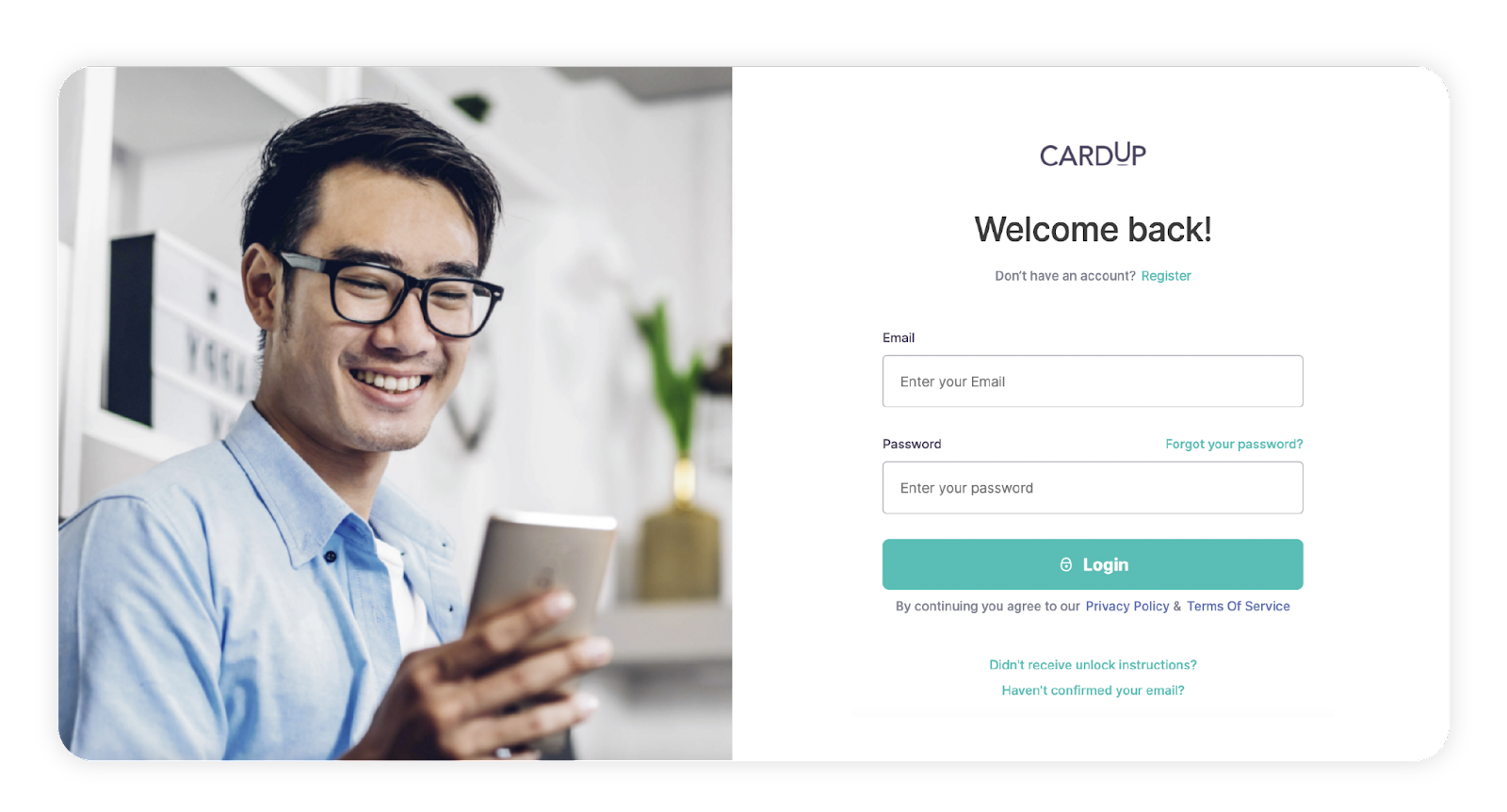 Sign up for CardUp