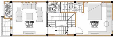 Tư vấn thiết kế nhà lệch tầng trên diện tích 4,21x14,42m | ảnh 2