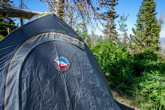 Closeup of Big Agnes logo on rain fly for Fly Creek HV UL2 Bikepack tent