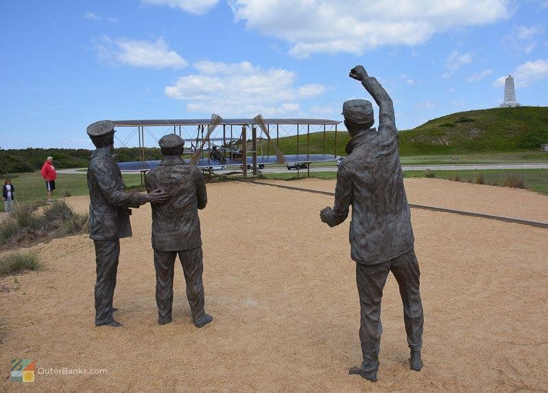 Three statues at Wright Brothers Memorial the site of the appraisal on collington island
