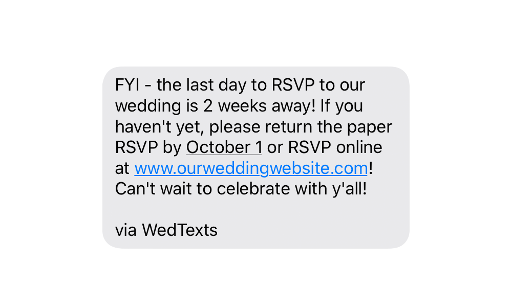 keeping track of RSVPs wedding text message reminder