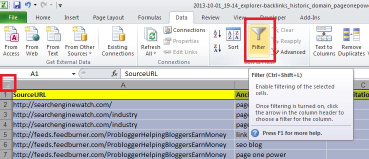 backlink report filter