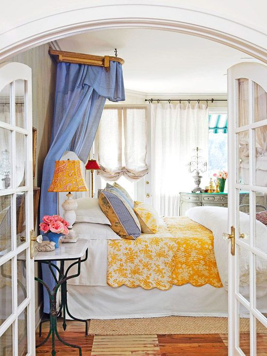 Vibrant-Colored French Country Bedroom