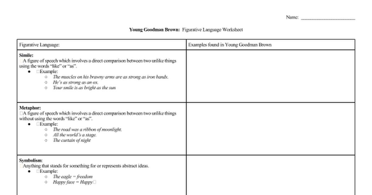 Young Goodman Brown Figurative Language Google Docs