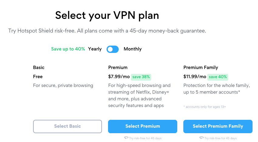 Hotspot Shield pricing and plans