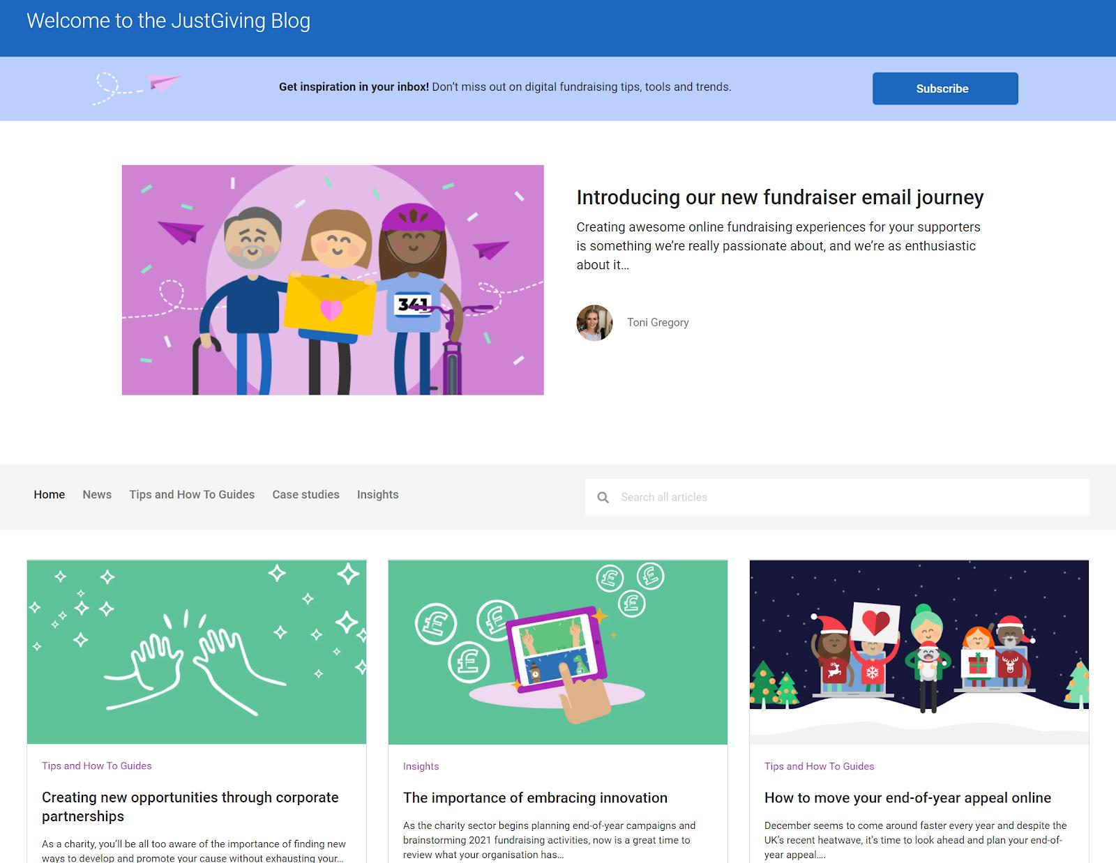 Screenshot of JustGiving charity blog homepage.
