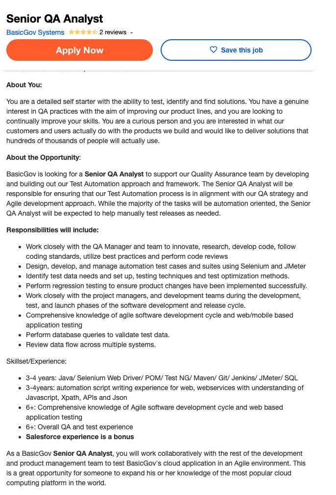 Senior QA Analyst Screenshot