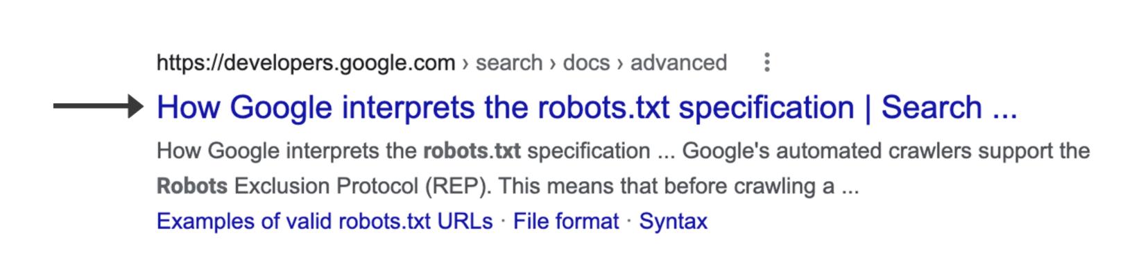 Screenshot eines einzelnen Google Suchergebnisses bei dem der Blaue Title markiert ist, den Google als Title Link definiert