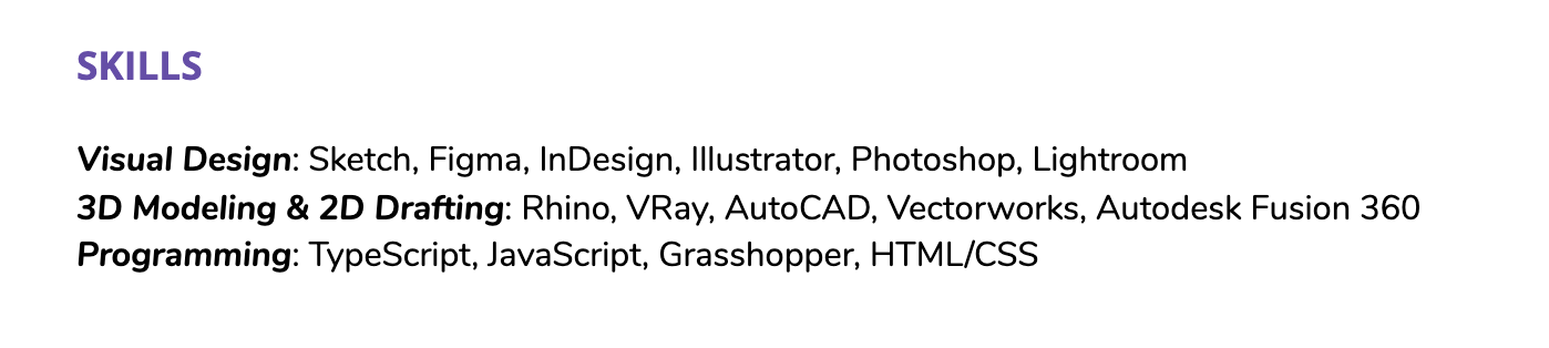 Hard skills in your resume's skills section, grouped by category