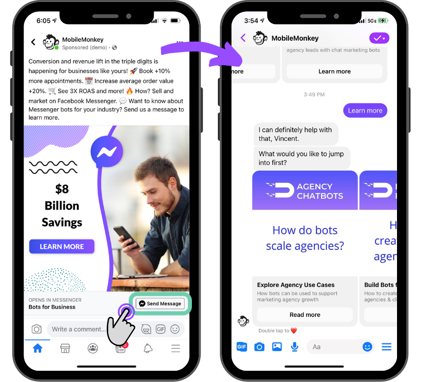 example link to Messenger ad
