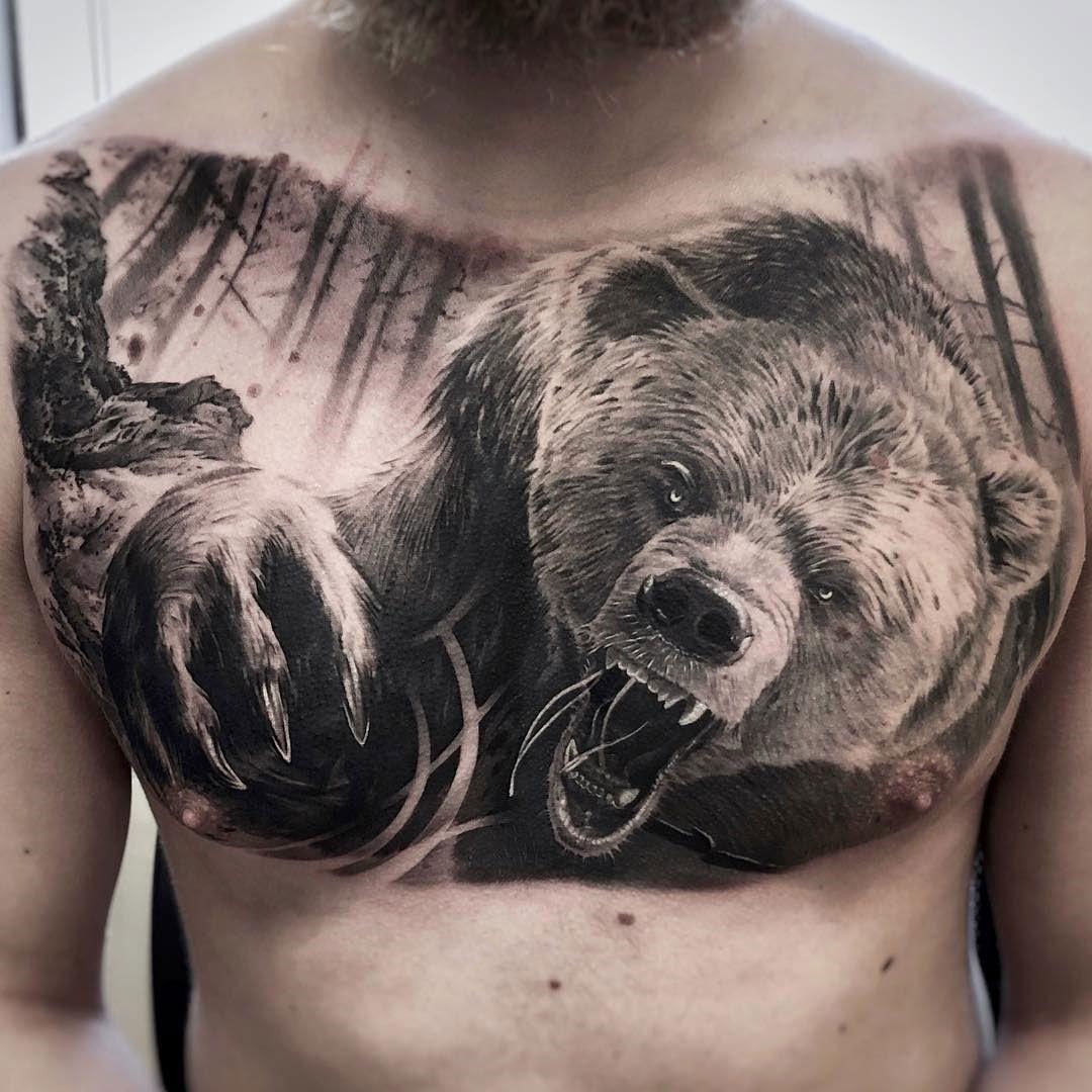 ลายสักหมีหน้าอก