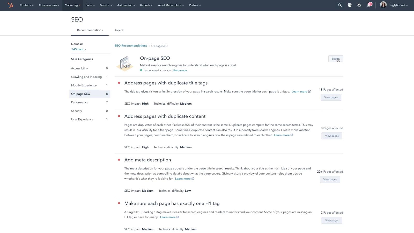 HubSpot Produktaktualisierungen Mai 2021: Empfehlungen aus SEO-Audit-Tool exportieren