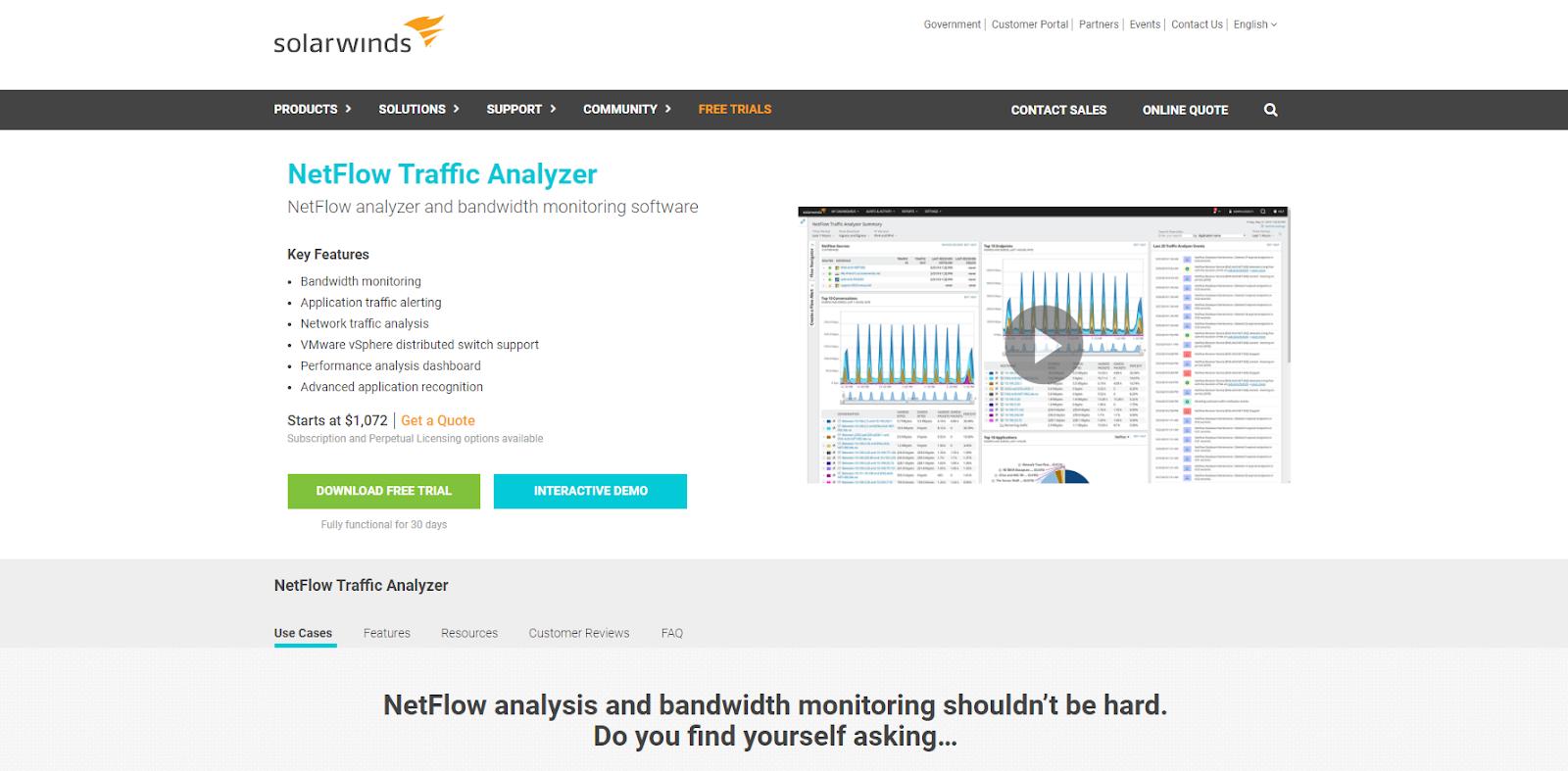SolarWinds NetFlow Traffic Analyzer Network Monitoring Tool