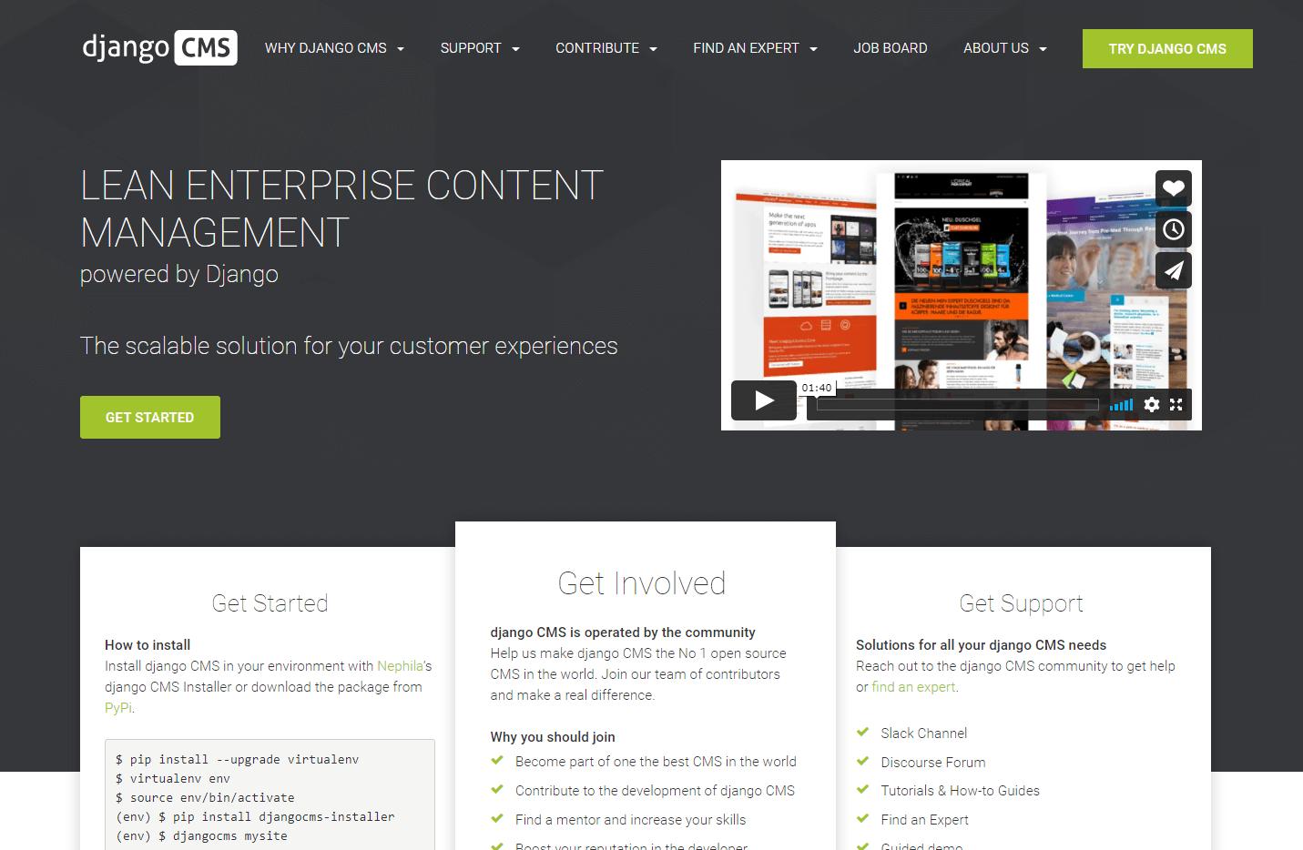 The homepage for Django CMS.