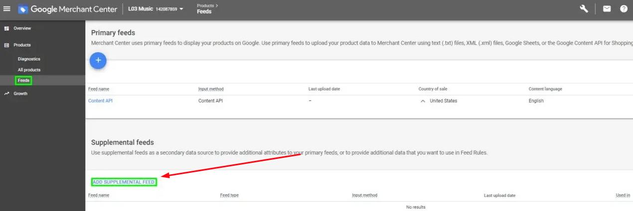 Google merchant supplement feed