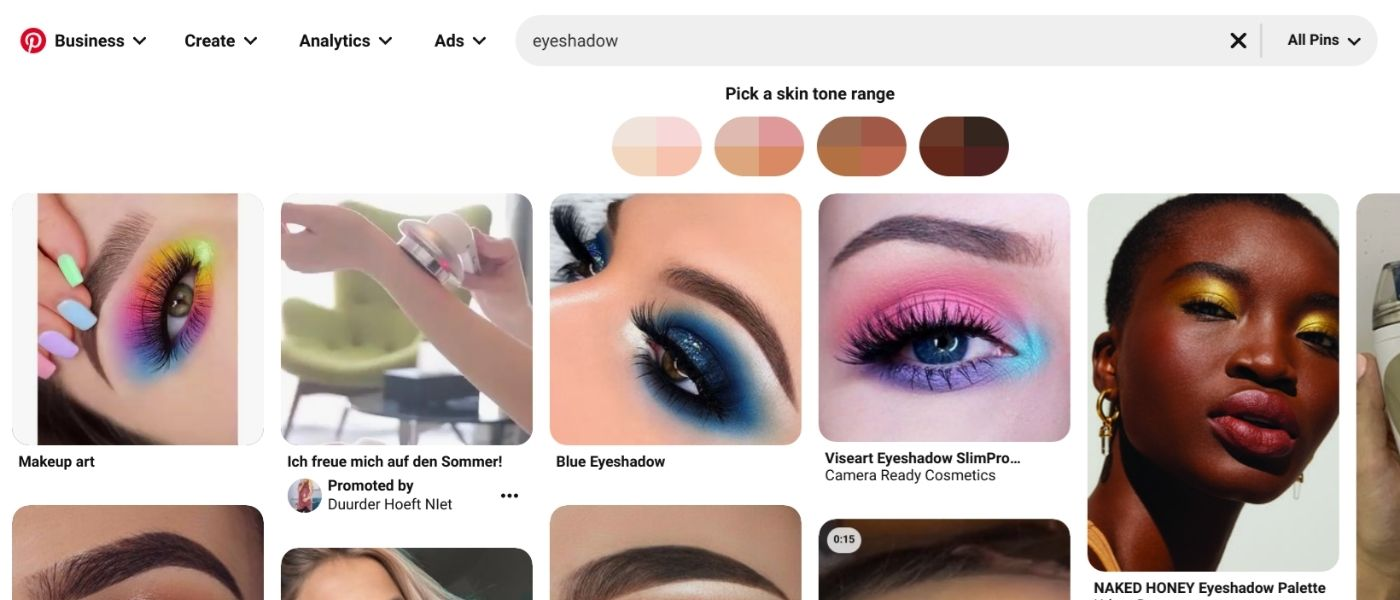 """pinterest provides diverse search results for the term """"eyeshadow"""""""