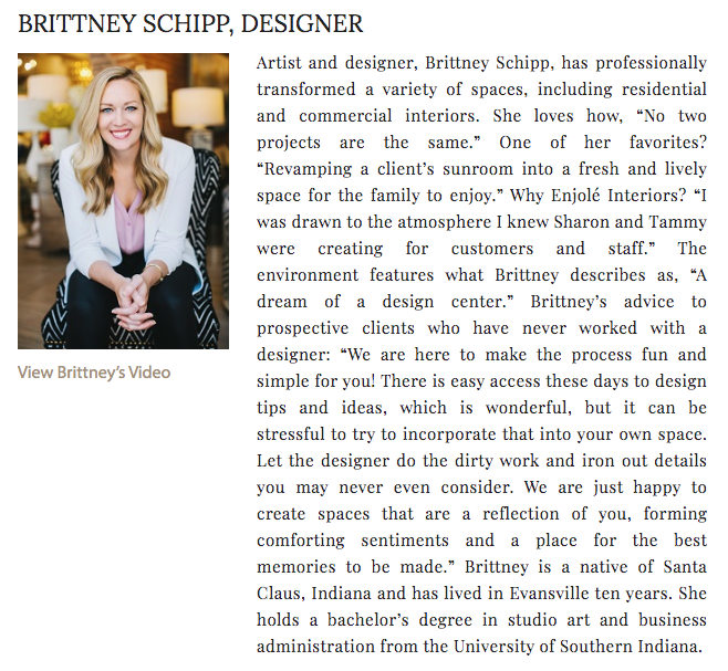 Example of an About section for an interior designer website 3