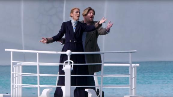 Photo: Celine Dion and James Corden recreate scene from Titanic