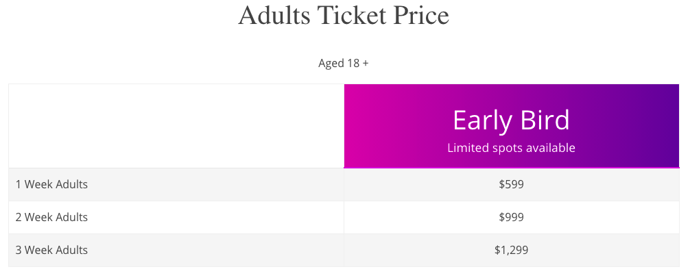 Adults Ticket Price