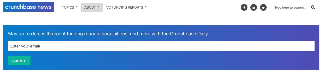Crunchbase newsletter sign up form