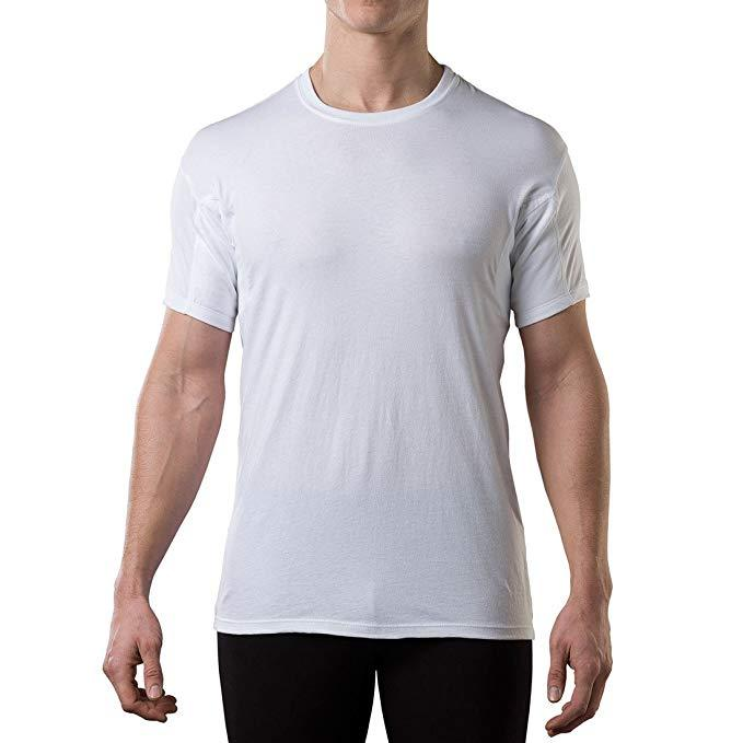 Sweatproof Undershirt for Men with Underarm Sweat Pads (Original Fit, Crew Neck) White