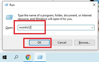 Open Run from the Start and type msinfo32. The Windows System Information dialogue box will appear.