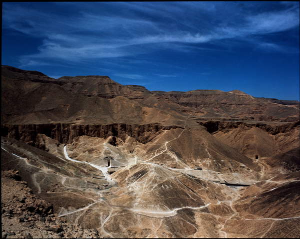 Image of Egyptian Antiquite: View of the Valley of Kings, West Nile Valley, Thebes Luxor, Egypt, Deir El-Bahri, Thebes, Egypt © Luisa Ricciarini / Bridgeman Images