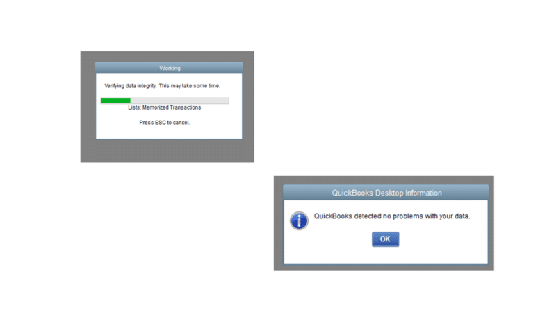 QuickBooks detected no problems with the data - Screenshot Image