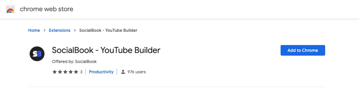 """Click """"Add to Chrome"""" to install SocialBook YouTube Builder Chrome extension."""