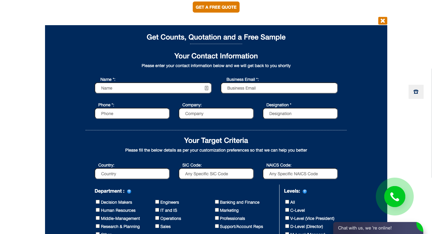 """Form titled """"Get Counts, Quotation and a Free Sample"""""""