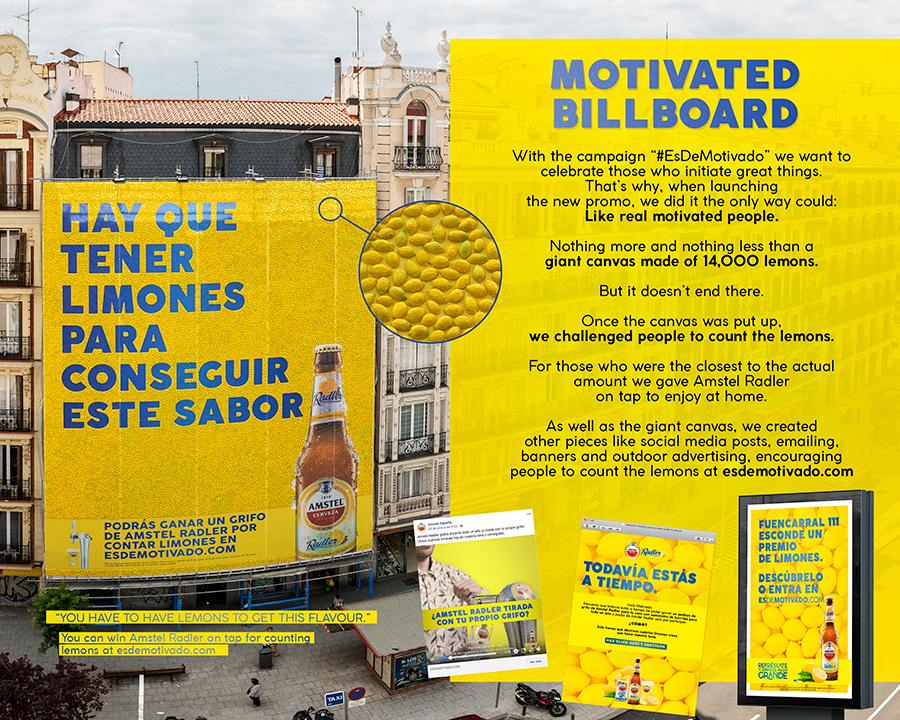 Amstel Radler's giant ad that was made of fresh lemons