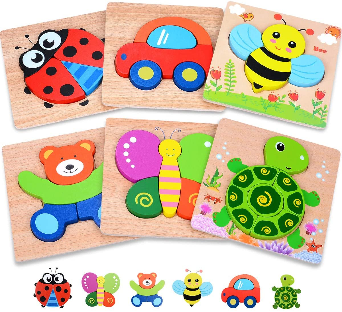 cute wooden puzzles for toddler