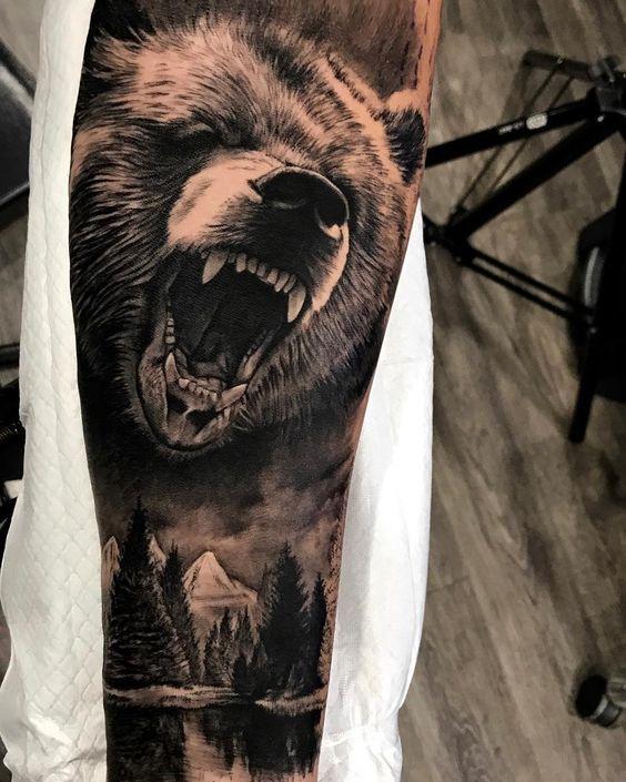 ลายสักหมีแขน