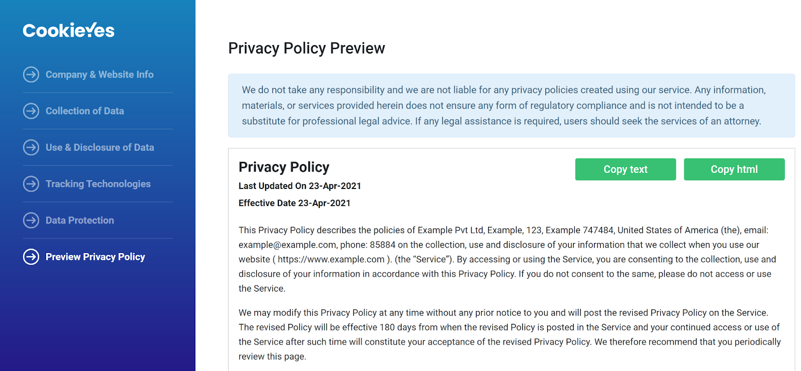privacy policy generated by CookieYes