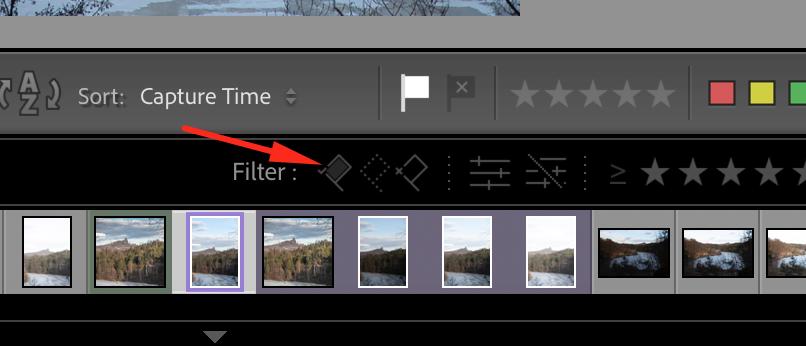Vyfiltrování fotografií označených bílou vlaječkou v Adobe Lightroom.
