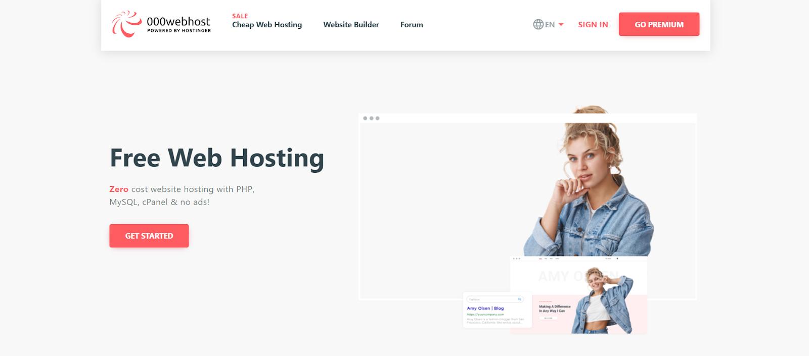000webhost homepage free web hosting