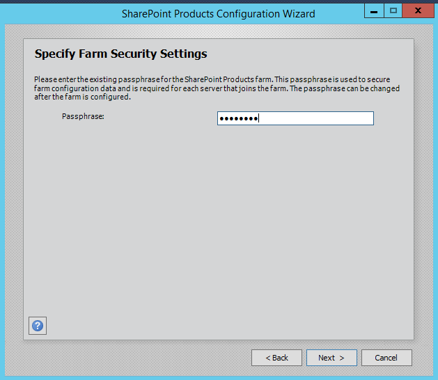 SharePoint 2016 Configuration Wizard - Security Settings