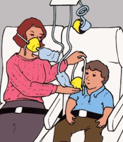 woman in aeroplane seat with oxygen mask on putting an oxygen mask on a child sitting next to her.