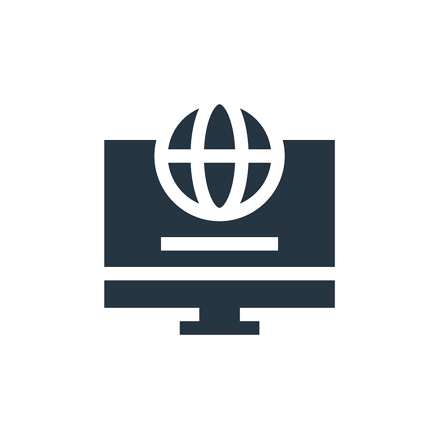 Black and white icon of a laptop with an internet symbol above it.