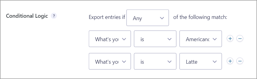 Conditional logic conditions set up to filter entries that are being exported