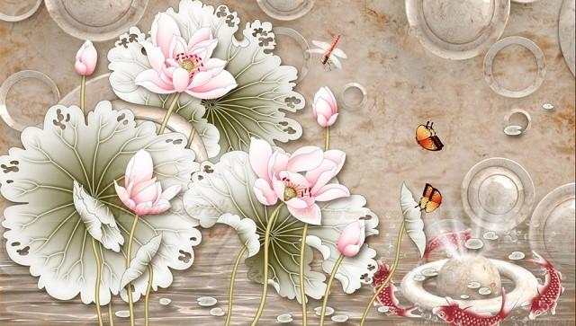 Tranh thờ 3D hình hoa sen