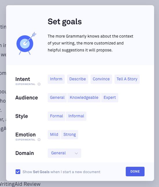 Grammarly goals feature