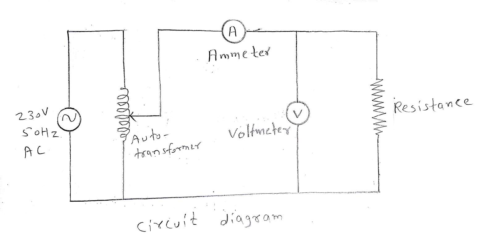 Basic Electrical And Electronics Engineering Practicals For Diploma Circuit Diagram With Ammeter