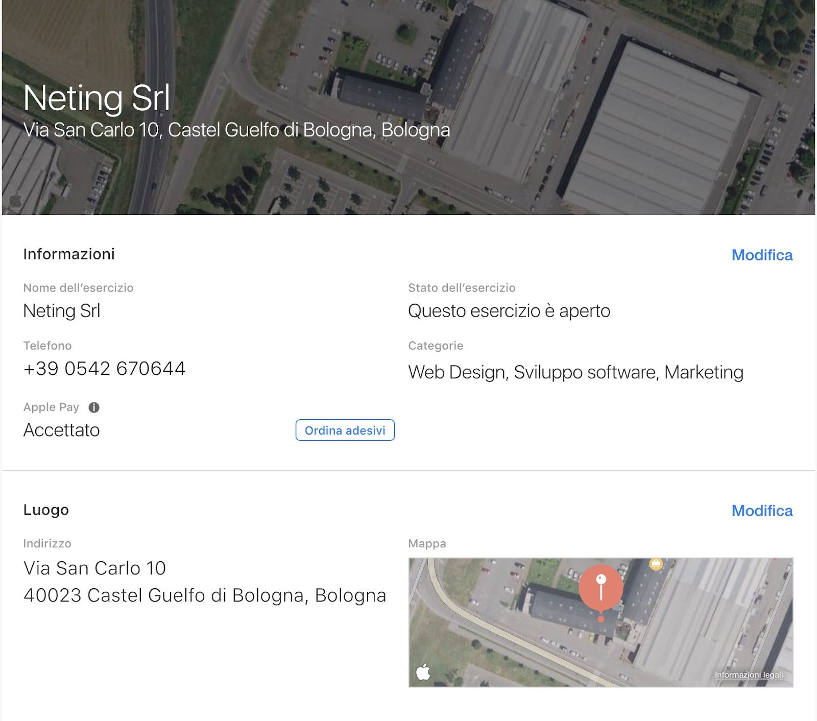 Esempio scheda aziendale su Apple Maps