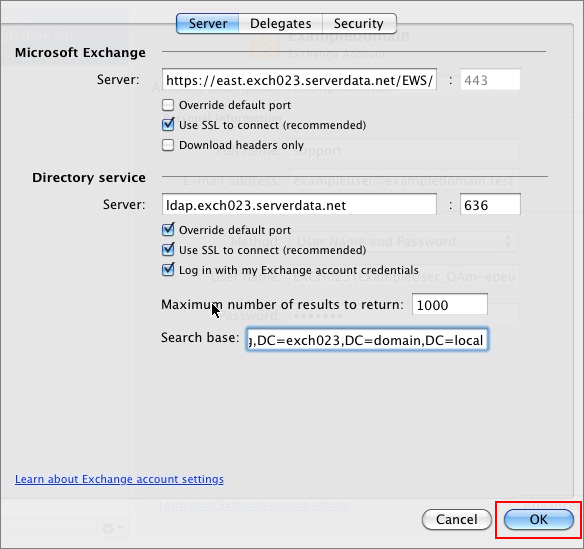 Outlook 2011 Exchange server settings