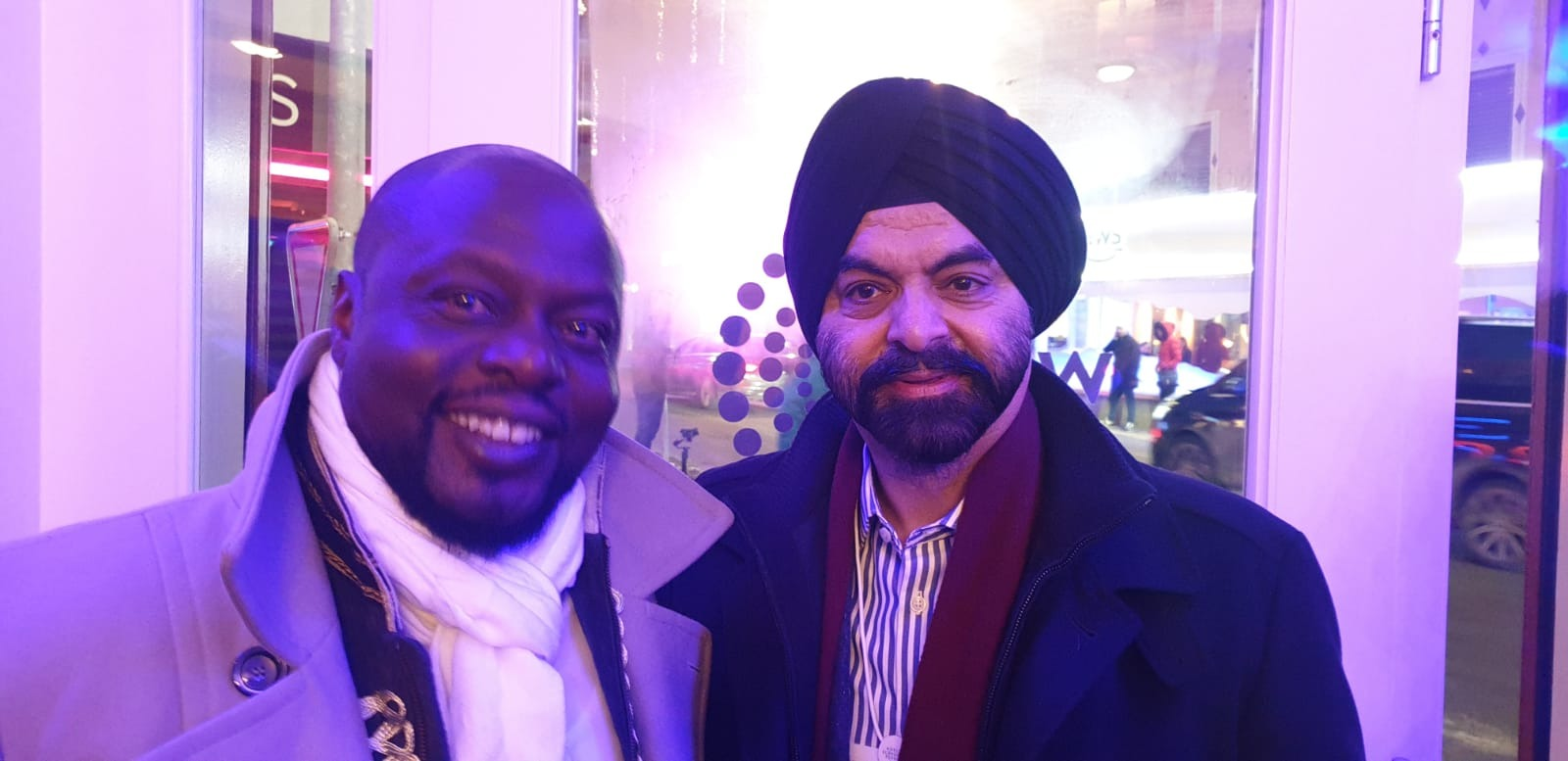 Our Founder, Mamadou Toure, with Ajaypal Singh Banga, CEO of Mastercard, at the Davos Africa Night