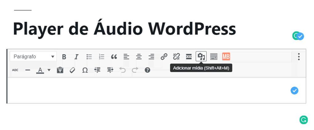 botão de adicionar mídia no menu do editor clássico do wordpress