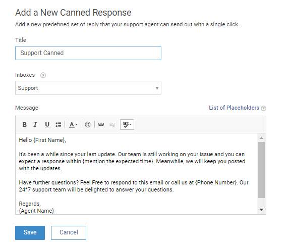 Create Canned Responses for setup new help desk
